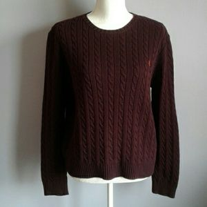 LRL Cable Knit Cotton Sweater L/XL